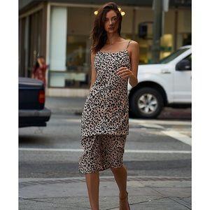 Sugar Lips Leopard Print Midi Slip Dress